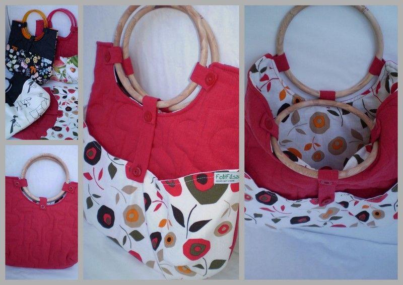 Piros virágos táska