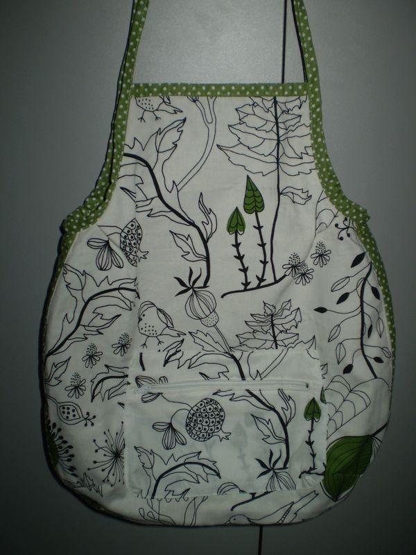 zöld indás madaras nyári táska